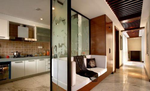 中式三居室白色厨房磨砂玻璃隔断实景图
