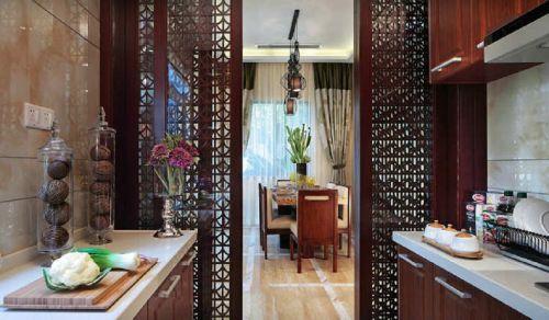 咖啡色中式风格厨房木质花纹隔断实景图