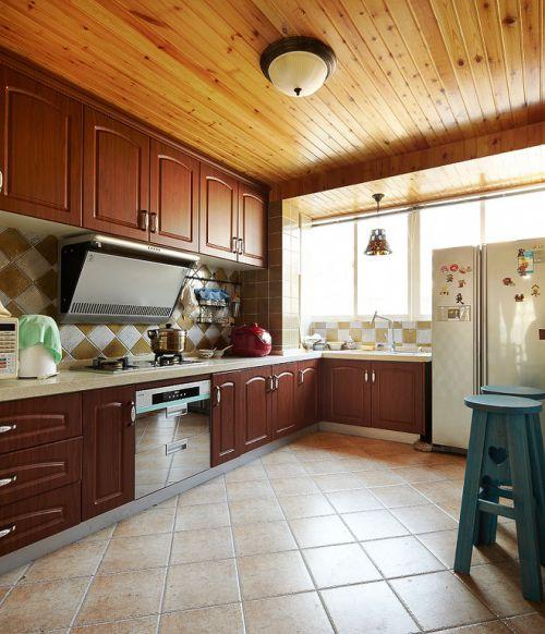 中式古典风格厨房木质吊顶实景图