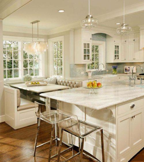 白色田园风格吧台厨房完工照