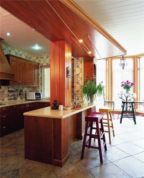 田园风格别墅厨房吧台装修效果图