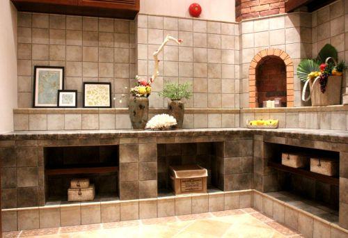 田园风格四居室厨房背景墙装修图片