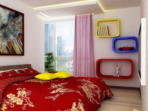 现代简约风格彩色卧室装修效果图