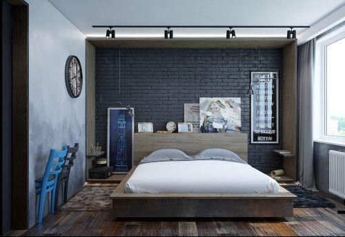 现代极简黑色墙砖卧室装修效果图