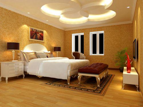 橙色时尚雅致现代风卧室装修效果图