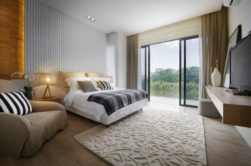 清爽现代风格卧室背景墙装修设计