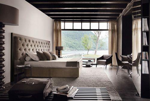 现代简约灰色湖景房卧室装修效果图