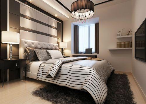 二居室现代简约风贵气卧室吊灯效果图