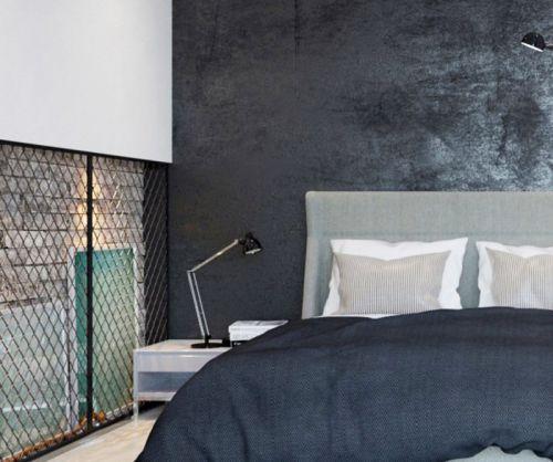 黑色现代简约卧室床头背景墙效果图