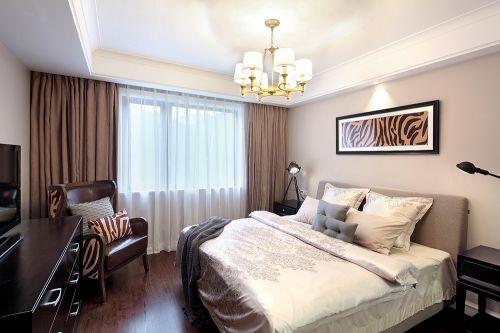 精致现代风格咖啡色卧室窗帘装修图片