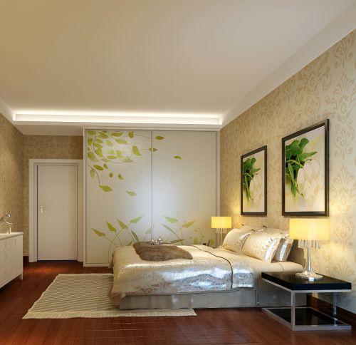现代时尚象牙卧室白衣柜装修效果图