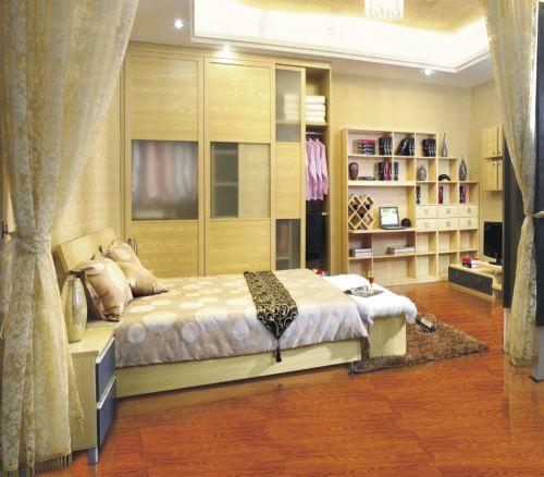 现代风卧室推拉式衣柜装修设计图