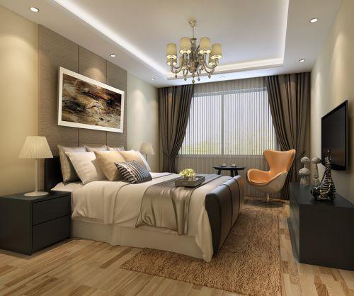 现代简约三居室卧室窗帘装修效果图