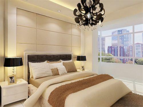 现代简约二居室卧室窗帘装修图片