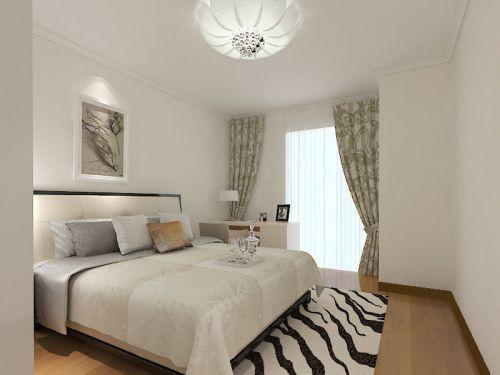 现代简约三居室卧室窗帘装修效果图欣赏