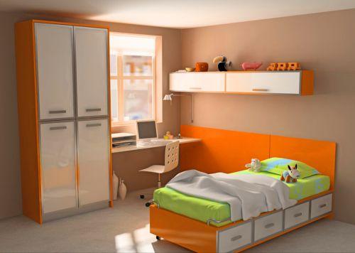橙色巧收纳儿童房装修效果图