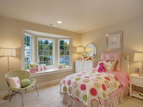 清新可愛少女系簡歐臥室飄窗設計效果圖