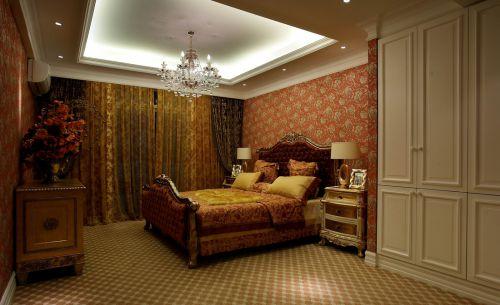 简欧风格别墅卧室床装修图片