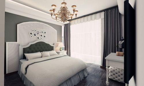 简欧风格二居室卧室窗帘装修效果图大全
