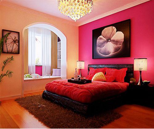 简欧风格三居室卧室背景墙装修效果图
