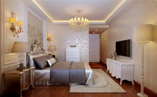 简欧风格三居室卧室床装修效果图