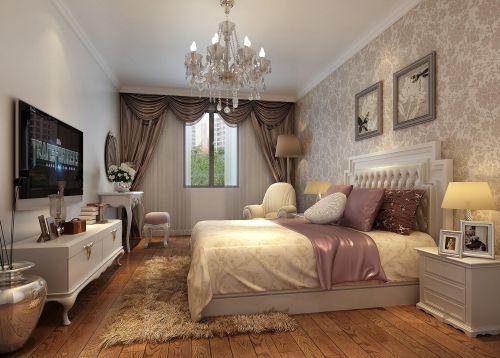 简欧风格花色壁纸卧室床头背景墙