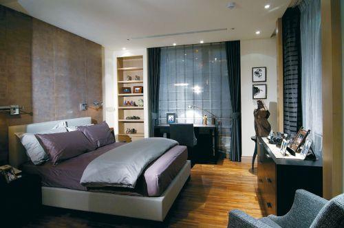 中式风格四居室卧室飘窗装修图片