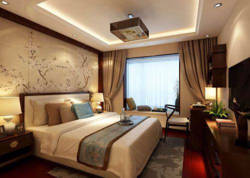 中式風格三居室臥室飄窗裝修效果圖大全