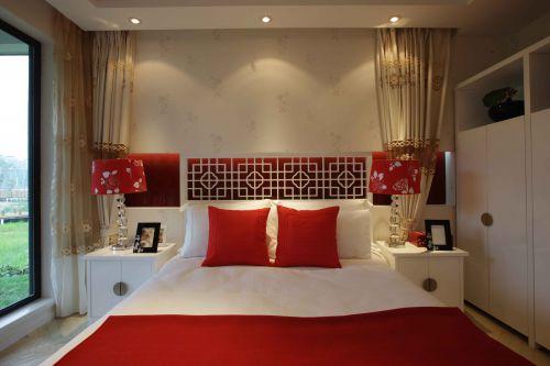 现代新中式相结合三居室卧室装修效果图