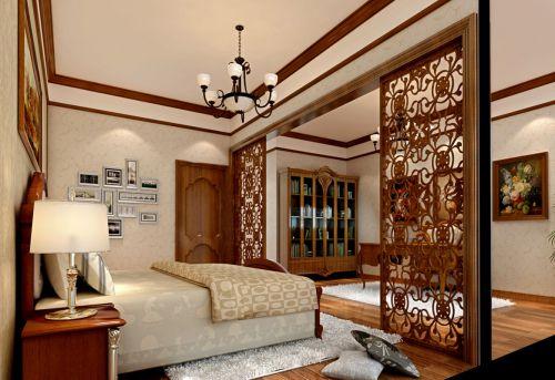 中式风三室两厅卧室屏风效果图