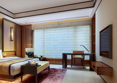 卧室新中式风格实木电视柜效果图