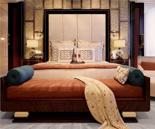 中式风格温馨橙色卧室床装修效果图
