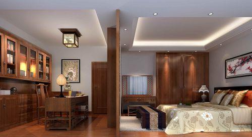 二室一厅中式风格一楼客厅屏风效果图