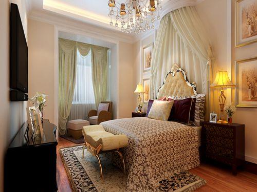 新中式风格二居室卧室吊顶装修效果图大全
