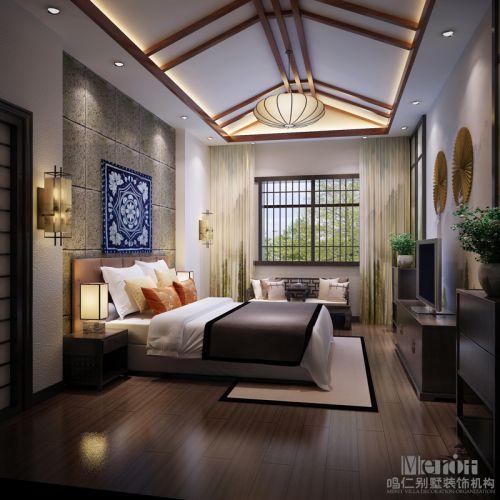 中式风格四居室卧室床头柜装修图片