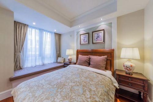 优雅韵味中式风格卧室飘窗实景效果图