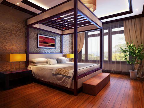 中式风格四居室卧室装修效果图欣赏