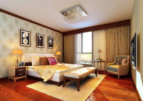 三居室唯美中式风格卧室白色大床效果图