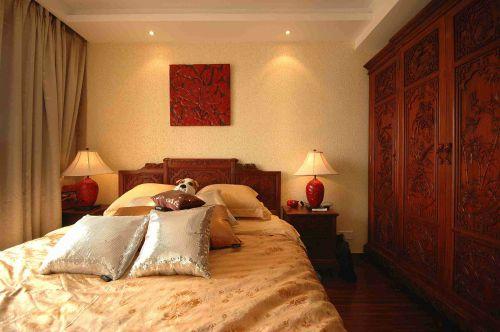 咖啡色系木刻情怀中式卧室效果图