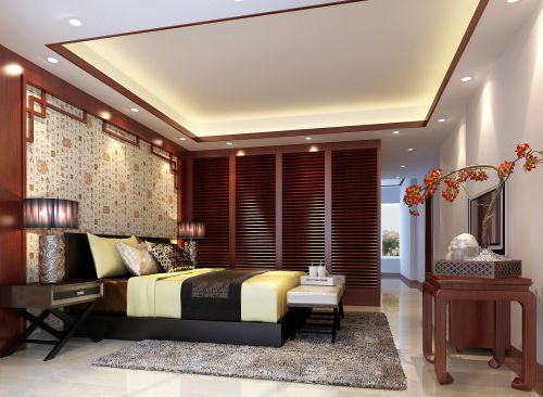 端庄别墅中式风格卧室彩绘背景墙效果图