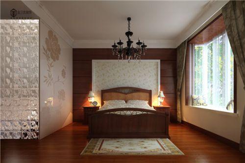 中式古典四居室卧室床装修图片
