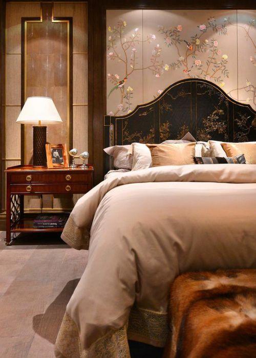 奢华中式风格别墅卧室背景墙效果图