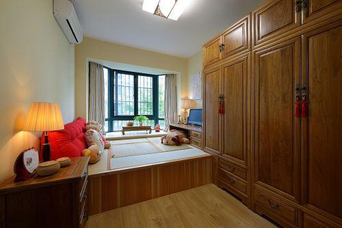中式风格卧室凸窗装修效果图