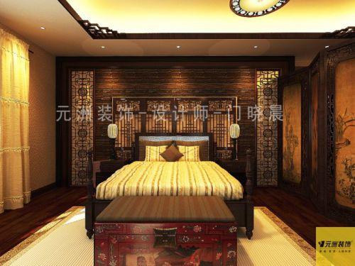 新中式古典别墅卧室装修效果图大全