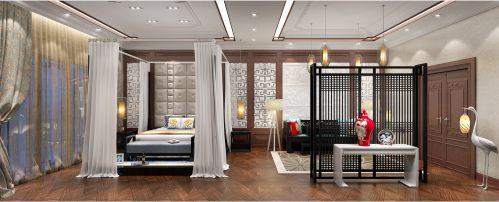 中式风格四居室卧室窗帘装修效果图大全