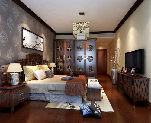 中式风格三居室卧室照片墙装修效果图欣赏