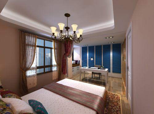 中式古典三居室卧室窗帘装修效果图