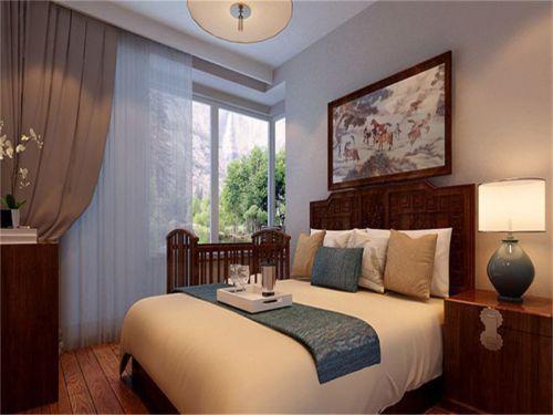 中式古典二居室卧室背景墙装修效果图