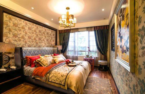 中式风格三居室卧室床头柜装修效果图欣赏