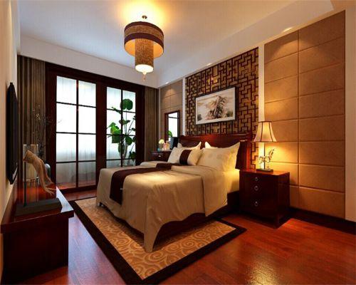 中式风格二居室卧室窗帘装修效果图大全